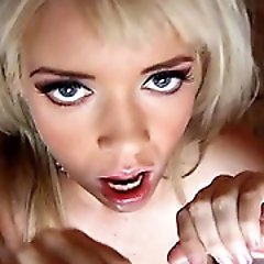 Hot blonde slut goes around a cock circle suckin em cum dry...